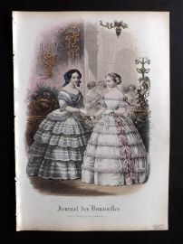 Journal des Demoiselles C1850 Antique Hand Col Fashion Print 27